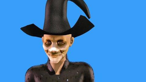 Witch Speaks Halloween Blue Screen 3D Rendering Animation Horror