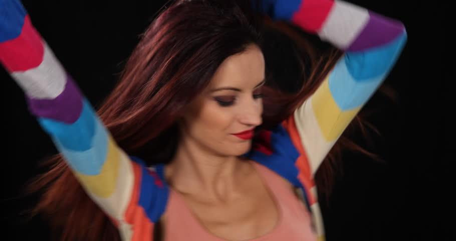 Close Up of Latin Woman Dancer Moving Sensual Body Hot Girl Dancing Modern Style