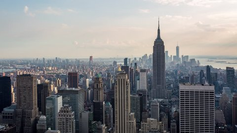 New York City, USA - September 15th 2017 - New York and Empire State Building Golden Hour Light Day Timelapse