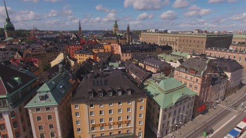 Aerial Stockholm city center. View of Old Town buildings and Stockholm Palace