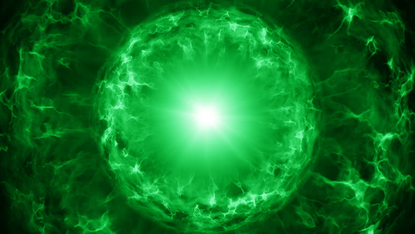 Green plasma sphere with energy charges. Computer generated sci-fi motion background. Seamless loop animation 4k (4096x2304)