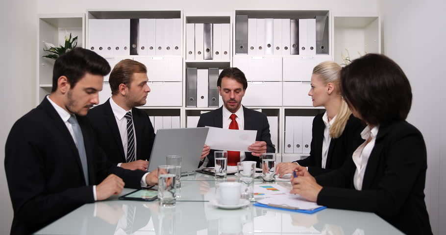 Unhappy Group of Business Office Workers Negative Finance Graph Result Boardroom   Shutterstock HD Video #31078321