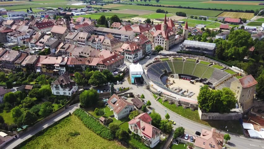Aerial View Of Old Town Avenches Switzerland A Swiss Municipality