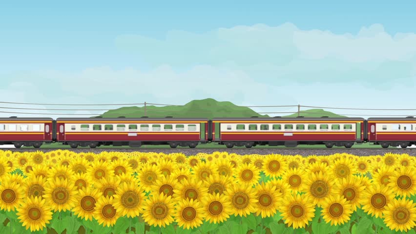 Cartoon animation Motion graphic background landscape sunflowers garden and train travel led by diesel electric locomotives running through unseen in thailand style.