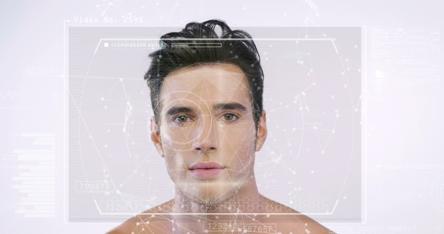 Portrait of a beautiful boy protection has facial recognition, thanks to increased reality and futuristic technology. Concept of: cyber security, business, technology and future