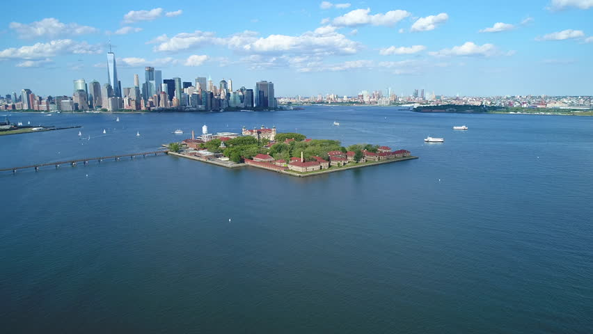 Aerial video Ellis Island New York 4k 60p prores