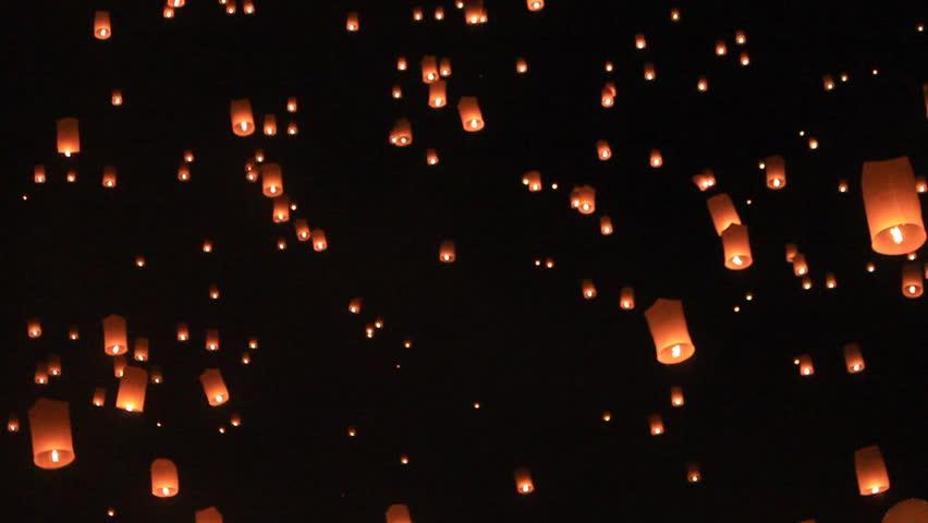 Floating lantern, Yi Peng Balloon Festival in Chiangmai Thailand