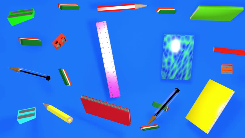 back to school school supplies on blue background #31131301