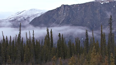 Low clouds and heavy mist creeping over the tundra/taiga/boreal forest in front of an imposing mountain of rock in the late evening in northern Yukon Territory, Canada.