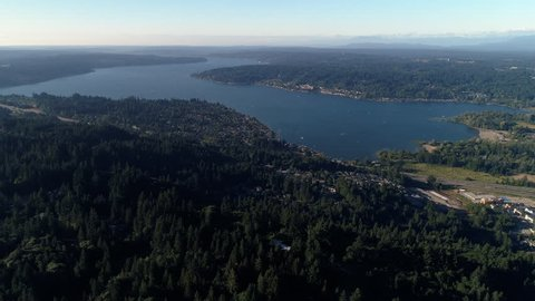 Helicopter View of Lake Sammamish by Interstate 90