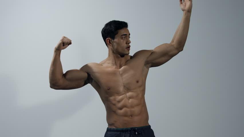 Man Bodybuilder Muscular Guy Doing Exercises Male Model -9870