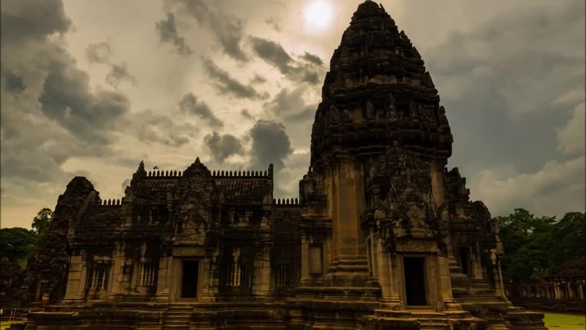 The Principal Tower at Phimai Historical Park, Thailand. Clouds moving with raining coming at park #31218841
