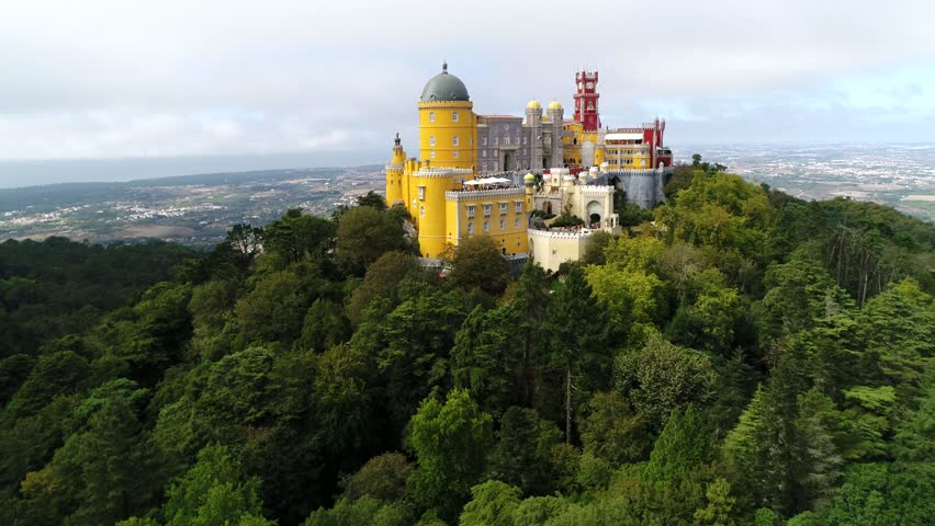 Aerial view of Pena Palace located in Sintra near Lisbon Portugal the palace is UNESCO World Heritage Site and one of Seven Wonders of Portugal and is popular tourist attraction in Lisboa Portugal 4k