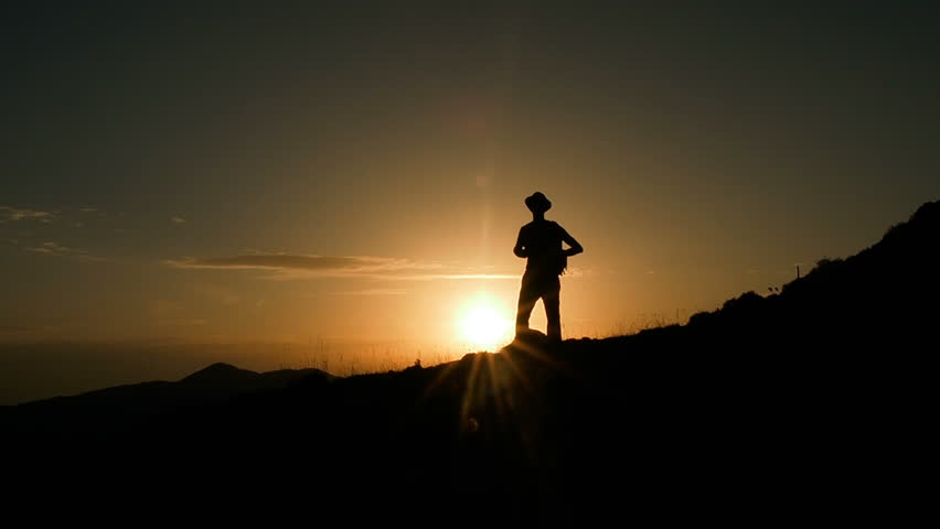 Male Mountain Climber In Summer. Man Hiking in Mountains Enjoying Success. Hiking Walking Slow Motion Recreation Activity. Holiday Vacation Tourism, Outdoors Man Hiking Silhouette  Beautiful Sunset. | Shutterstock HD Video #31242730