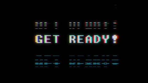 retro videogame get ready text words on old tv glitch interference screen ... New quality universal vintage motion dynamic animated background colorful joyful cool video footage