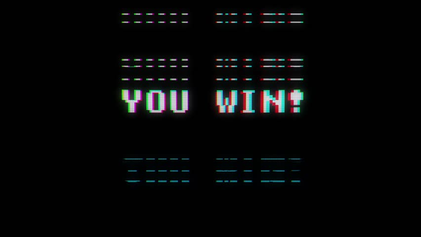 Retro videogame you win text words on old tv glitch interference screen ... New quality universal vintage motion dynamic animated background colorful joyful cool video footage | Shutterstock HD Video #31256293