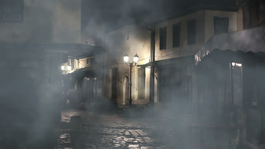 Old Cobblestone Road Steam Coming From Outl...