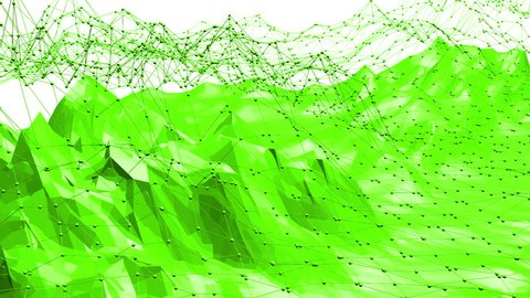 Green low poly background vibrating. Abstract low poly surface as complexity background in stylish low poly design. Polygonal mosaic background with vertex, spikes. Nice modern 3D design.