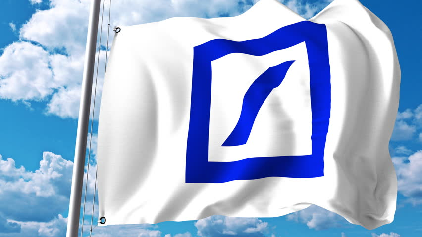Waving flag with Deutsche Bank logo against clouds and sky. 4K editorial animation