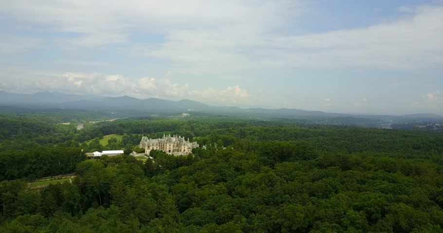 Asheville Fly Over with Biltmore Mansion and Blue Ridge Mountains, forest, green, landscape,    Shutterstock HD Video #31335031