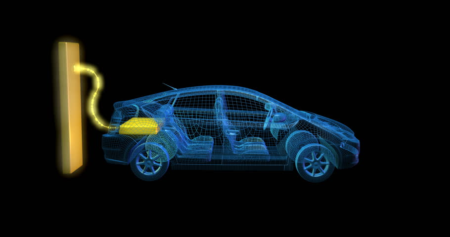 Car and chassis x ray blueprint 360 loopable animation hd stock electric car charging from large glowing yellow battery outlet 3d animation static camera profile malvernweather Image collections