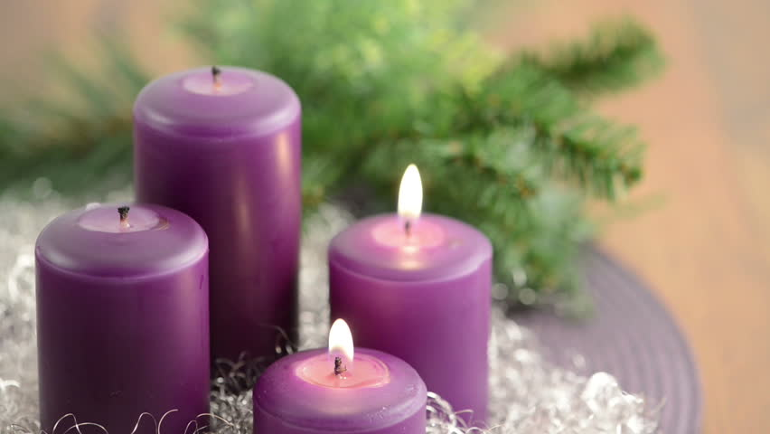 3 advent with two purple stock footage video 100. Black Bedroom Furniture Sets. Home Design Ideas