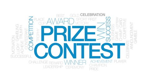 Prize contest animated word cloud, text design animation. Kinetic typography.