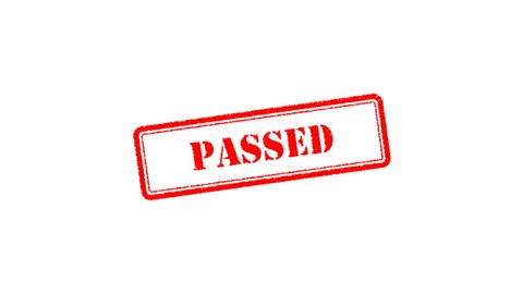 """Passed Signed with Red Ink Stamp, Red Rubber Stamp Animation of the Word """"PASSED"""" on Black Background, White Background, Green Screen and Alpha Channel Included."""