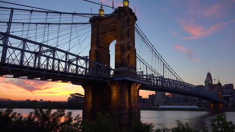 CIRCA 2010s - Cincinnati, Ohio - A beautiful evening shot of Cincinnati Ohio with bridge crossing the Ohio River foreground.
