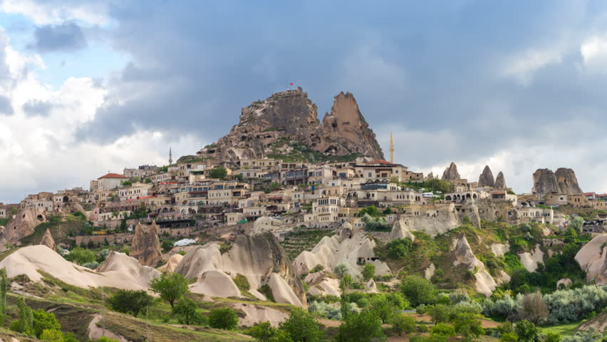 Timelapse view of Uchisar Castle cave houses. Cappadocia, Turkey.