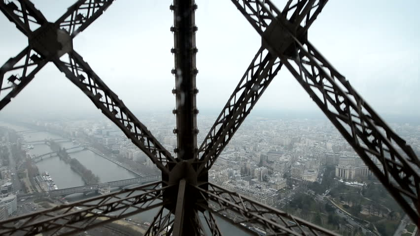 Wonderful view of Paris from moving Eiffel Tower Lift | Shutterstock HD Video #3141631
