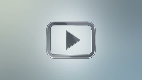 Editorial Animation: 3D rotation of symbol of Youtube logo from glass. Animation of seamless loop.