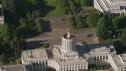 Salem, Oregon circa-2017, Aerial view of Oregon State Capitol Building, Salem, Oregon. Shot with Cineflex and RED Epic-W Helium.