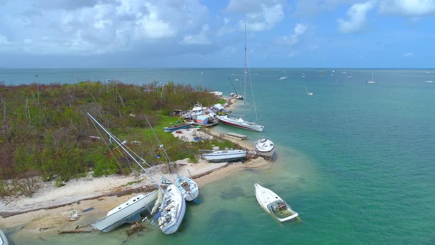 Aerial drone video Sail boats Florida Keys destroyed Hurricane Irma