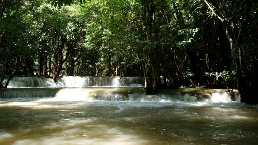 Beautiful rapidly Huay Mae Khamin Waterfall in the green forest level 2, Kanchanaburi, Thailand | Shutterstock HD Video #31521841