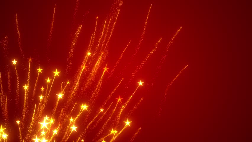 Abstract Red Christmas motion background. Gold sparkles and round glitter bokeh particles and light. New year collection