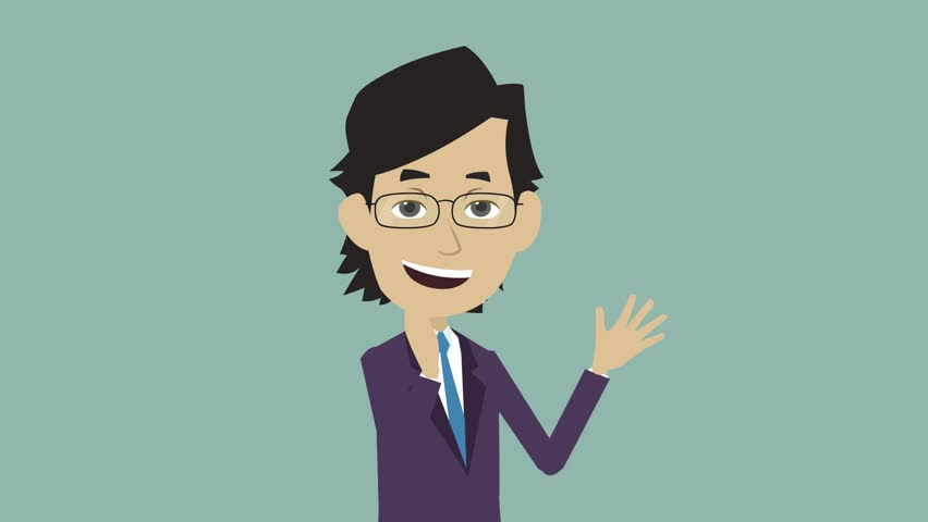 funny character cartoon on a gray background, a young man in glasses and a strict suit stands half a turn and claps his hands happily, business man cheerful, back of frame