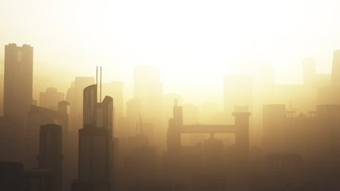 Post Apocalyptic Air Polluted Metropolis 3D Animation