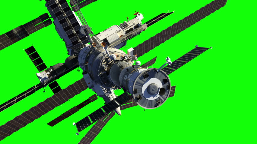 Flight Of Space Station. Green Screen. 3D Animation.