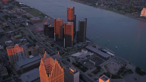 Aerial Michigan Detroit July 2017 Sunset 4K Inspire 2