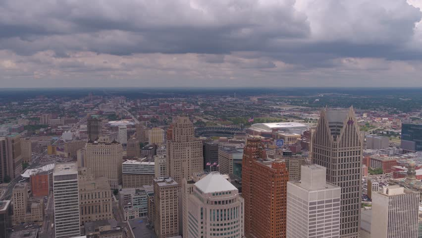 Aerial Michigan Detroit July 2017 Overcast Day 4K Inspire 2