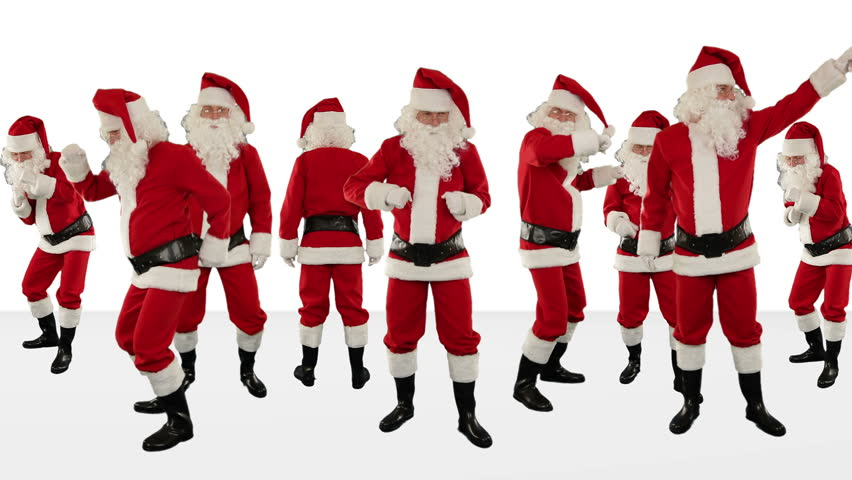 Bunch of Santa Claus Dancing Against White, Christmas Holiday Background