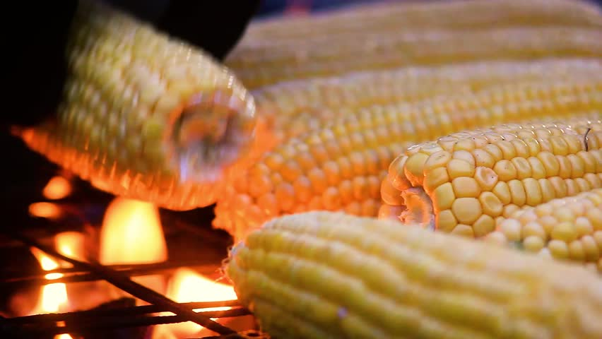 Organic grilled corn on the hot stove street food in istanbul close up delicious bbq mexican corn on cob grilling over glowing coals barbecued roasted on ccuart Images