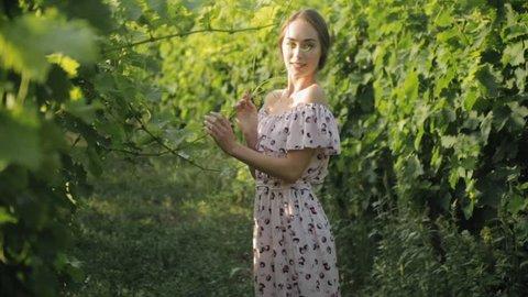 Romantic girl in long strapless dress in vineyards