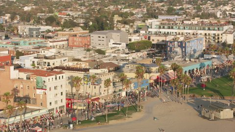 Venice Beach, California circa-2017, Aerial shot of Venice Beach. Shot with Cineflex and RED Epic-W Helium.