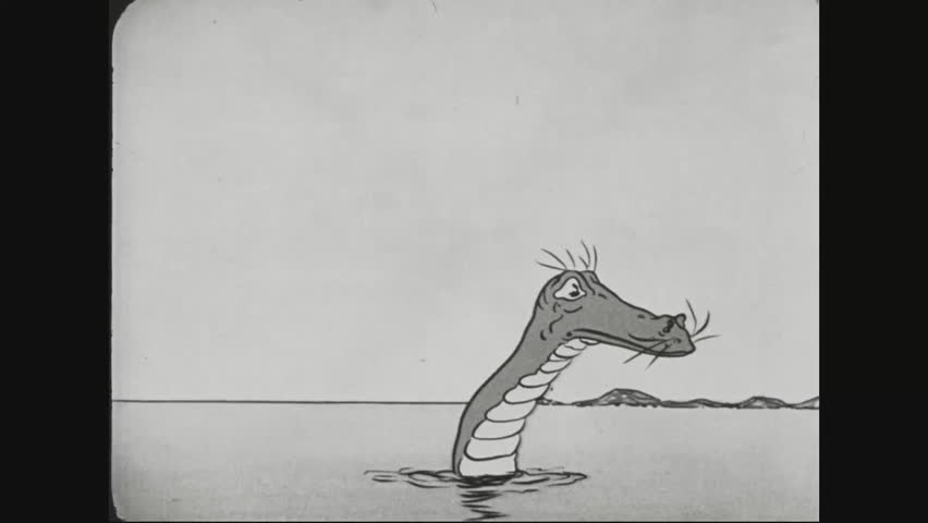CIRCA 1917 - Anthropomorphized food marches to Berlin, Germany, behind Uncle Sam and an enemy officer jumps off a cliff and is eaten by a sea monster during World War 1 in a cartoon.