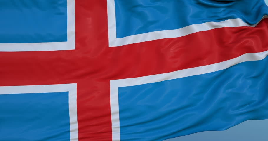 Seamlessly Looping flag for Iceland, blowing beautifully in the wind. Slo-Motion. Available in 4K. | Shutterstock HD Video #31663561