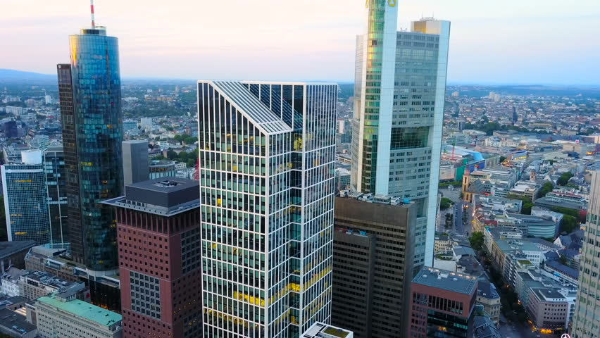 Aerial view of business area in Frankfurt city with skyscrapers | Shutterstock HD Video #31699261
