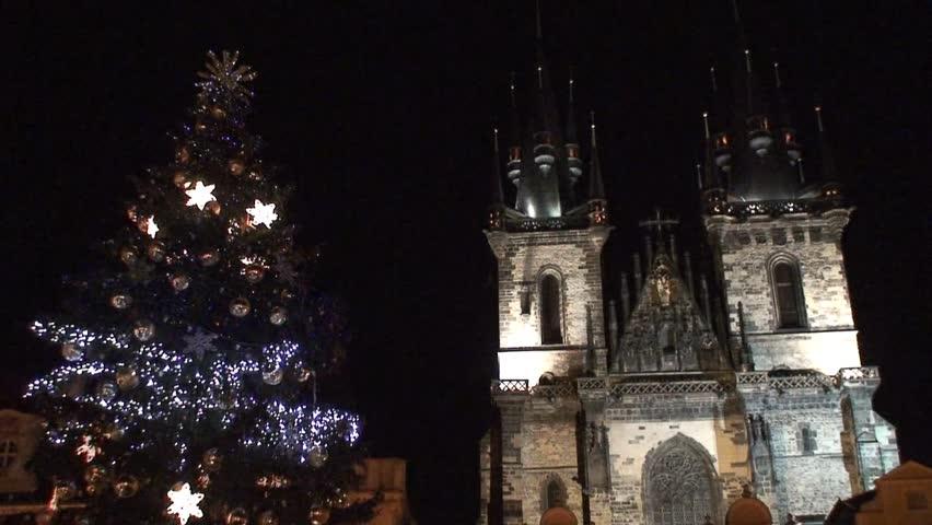 Christmas Tree Lights Outside Church Stock Footage Video 3169891 ...