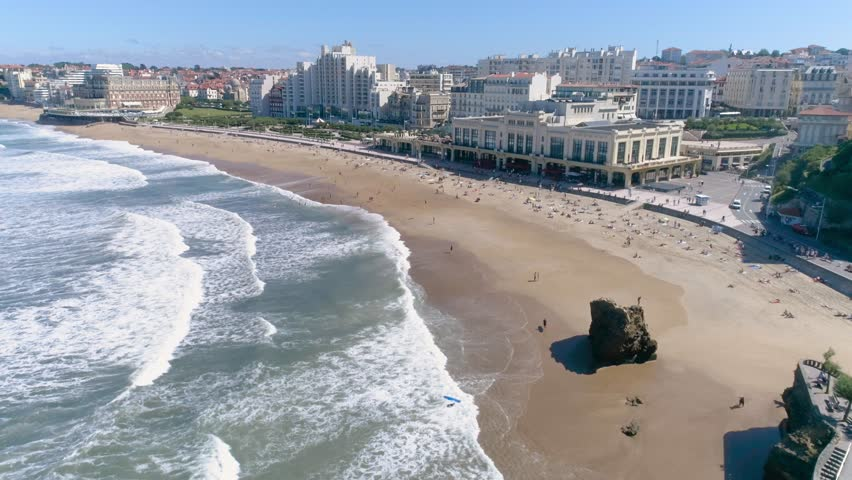 Aerial footage from Biarritz a famous surf city in France at the Atlantic ocean. Shot in 4k quality.